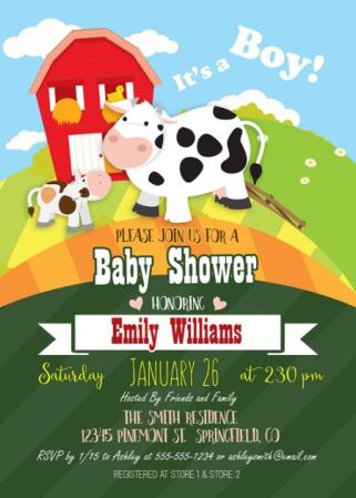 Printable Cows baby shower invite