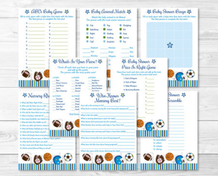 All sports printable baby shower games package