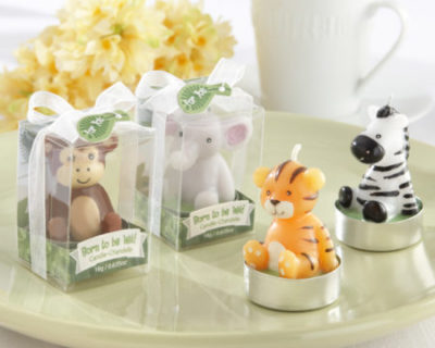 jungle animal theme tea light candle party favors