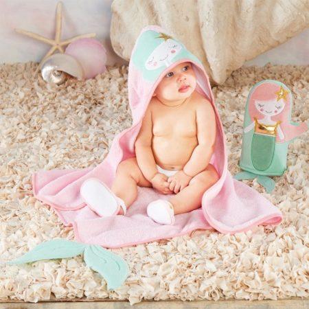 Baby Mermaid towel bath gift set