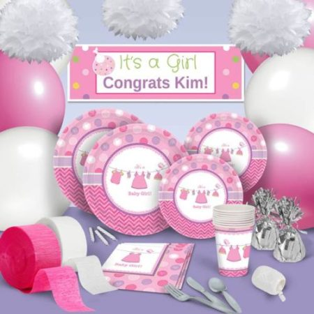 pink clothesline baby shower theme