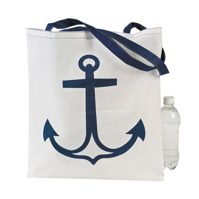 12 Anchor print nautical tote bags