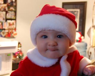 baby in Santa Claus suit