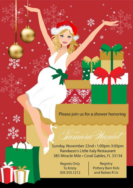 Holiday Baby shower invitation template download