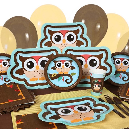 Owl boy baby shower supplies and table ware