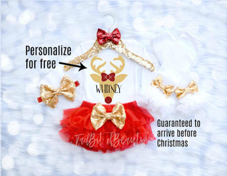 Personalized Reindeer Baby girl Christmas outfit