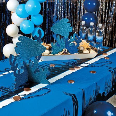 Under ocean blue party table cover roll