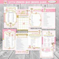 Printable 8 princess baby shower games