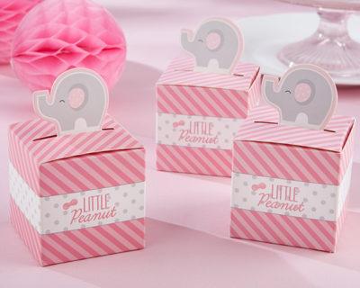 pink elephant baby shower favor box