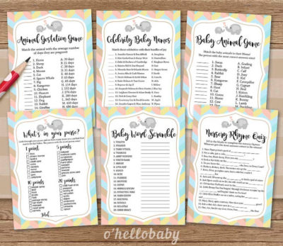 Digital Neutral Baby Shower Games collection