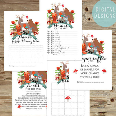 Printable Forest Woodland baby shower game set
