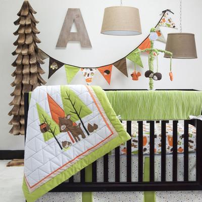 Woodland animals nursery crib bedding collection