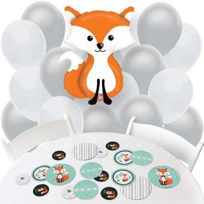 Fox boy baby shower balloons decorations