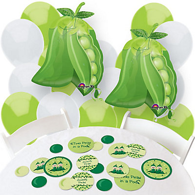 2 peas in pod twins baby shower balloons and decorations
