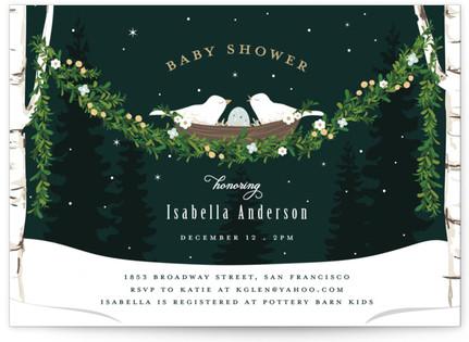 Family birds in nest baby shower invitations