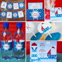 Printable Nautical Sailor boy baby shower supplies