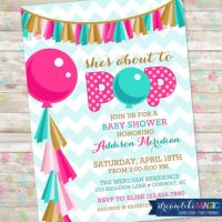 Digital Ready to pop baby shower invitation