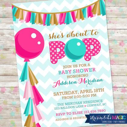 Digital Ready to pop baby shower invitation