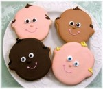 baby shower face cookie
