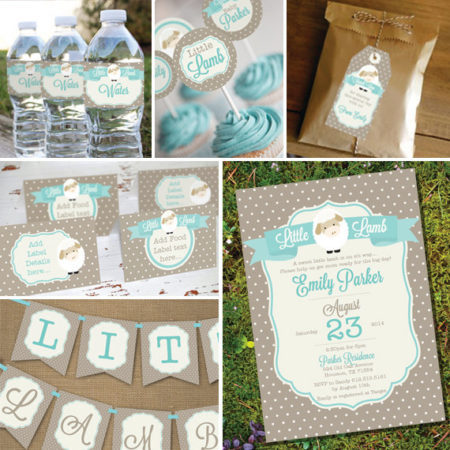 Little Lamb Printable Baby shower party supplies