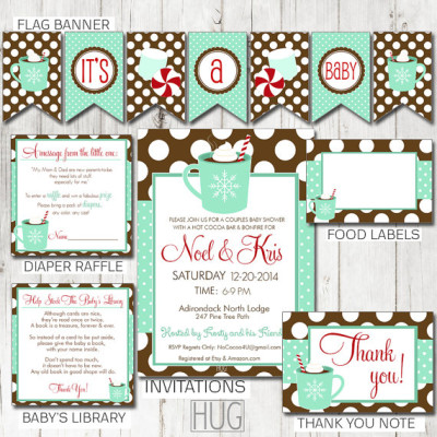 Hot chocolate baby shower download party package