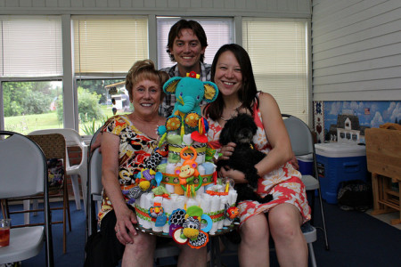 Fisher price handmade diaper cake gift