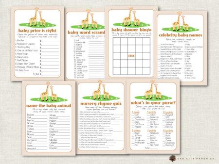 Giraffe baby shower download party games bundle