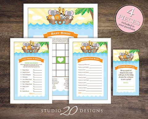 4 Noahs Ark Printable baby shower games