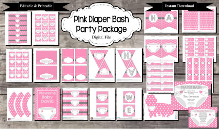 Printable Diaper bash baby shower pink girls