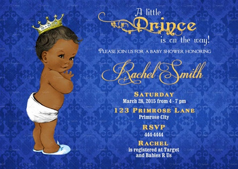 Printable AA Prince baby shower invite
