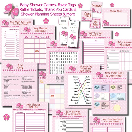 Printable butterfly baby shower games and favors bundle