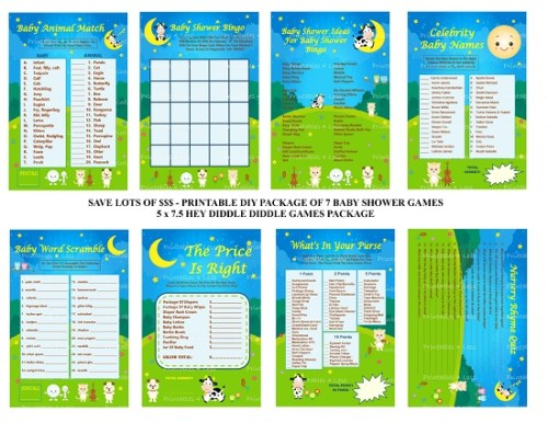 Printable Nursery Rhyme baby shower game collection