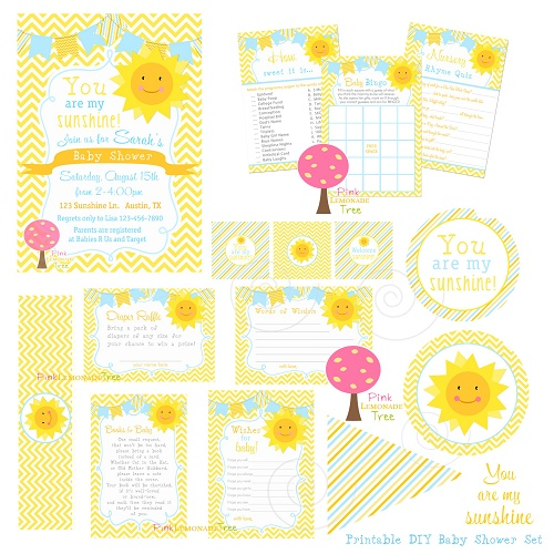 Printable Summer Sun baby shower decorations games kit