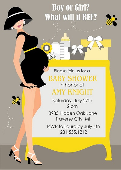Printable bumble bee mom baby shower invitation