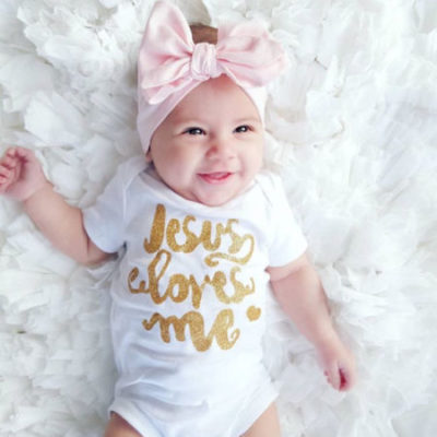 Glitter Jesus loves me infant body suit