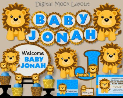 Baby Lion Boy printable party kit