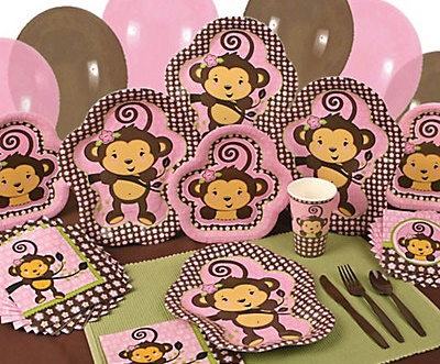 pink monkey baby shower theme girls