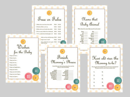 Cute as a button baby shower games printable download set