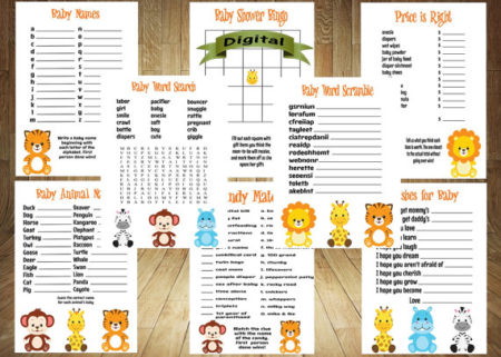 Baby animals baby shower printable game set
