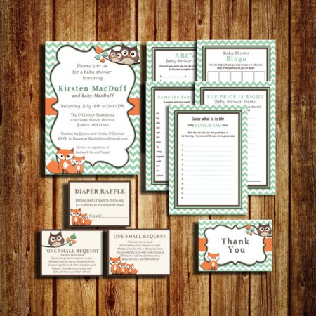 woodland owl fox baby shower package