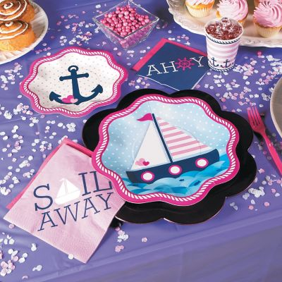 Pink Nautical baby shower party kit