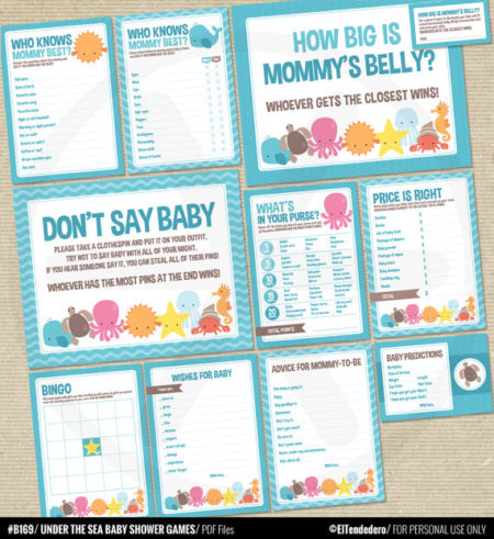 Sea creatures download baby shower games