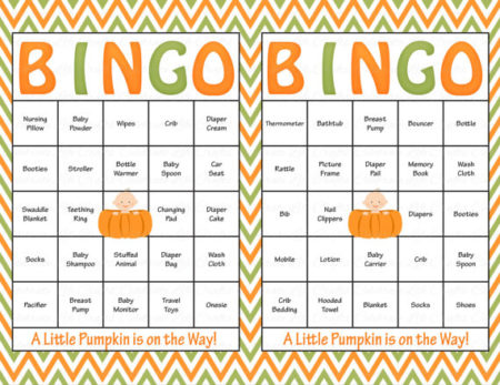 Baby Pumpkin Bingo Game