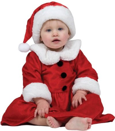 Santa infant dress and cap costume