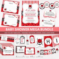 Ladybug Baby shower supplies download