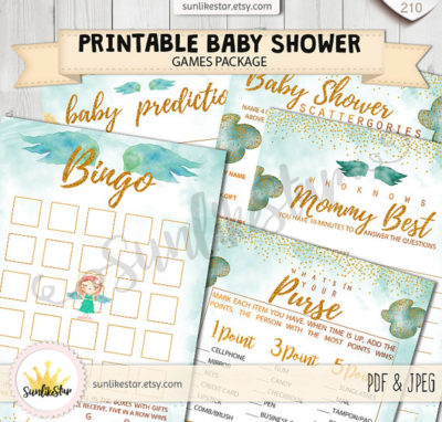 Printable Little angel baby shower game set