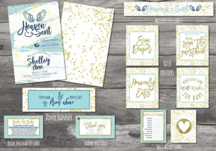 Printable Christian Heaven angel baby shower party supplies