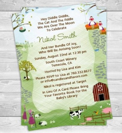 Digital nursery rhyme baby shower invite