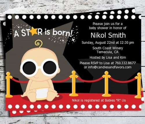 Digital Hollywood star is born baby shower invite