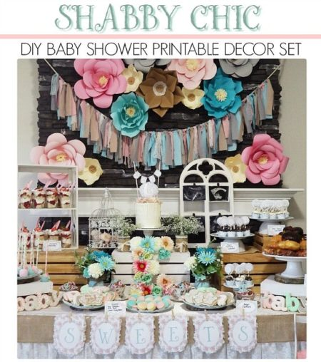 Printable Shabby vintage baby shower